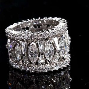 Silver Ring Lab White Sapphire Wedding Luxurious R